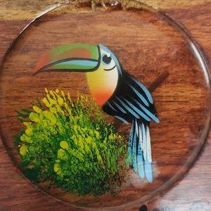 Vintage Accents - Vintage tribal wooden Toucan coaster